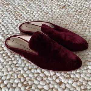 VIA SPIGA Burgundy Velvet Mule Flats Size 8